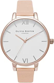 Bevilles Olivia Burton Big Dial Nude Peach and Rose Gold Watch OB16BDW21 Leather 3 Hands 5060403438621