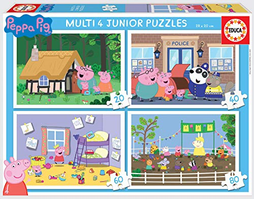 Educa- Multi 4 Junior, Puzzle Infantil Peppa Pig de 20, 40,