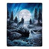 Bedford Home Howling Wolf Sherpa Fleece Blanket