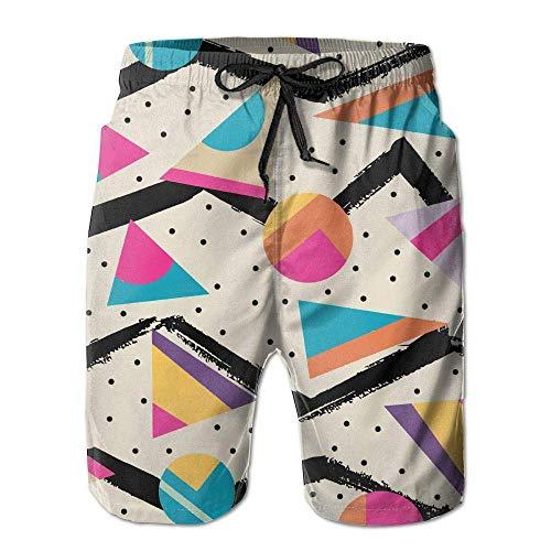 Herren Beach Board Shorts 80er Jahre Fashion Style Schnelltrocknende Badehose Badeanzug