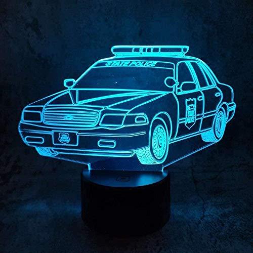 Lámpara de ilusión 3D, luz de noche LED, modelo de coche acrílico, cambio de 7 colores, lámpara de mesa de regalo para niños, decoración de dormitorio en casa USB-16 colors remote