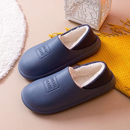 QPPQ Zapatillas de algodón para el hogar, zapatillas de suela gruesa para el hogar, zapatillas de algodón de lana calientes-azul_8.5/9, zapatillas esponjosas