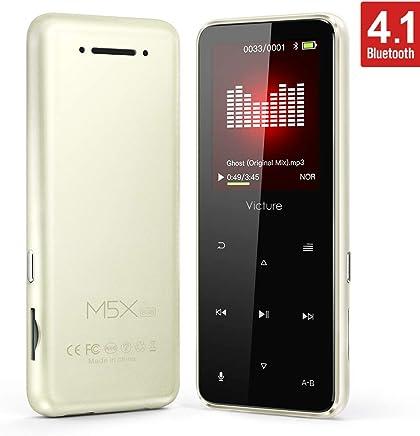 Victure Lettore MP3 Bluetooth 8 GB con Pulsante di Tocco, Lettore Musicale Digitale,Radio FM, Contapassi, qualità Audio HiFi, Schermo TFT in Metallo da 1.8 Pollici, Supporto Fino a 64GB
