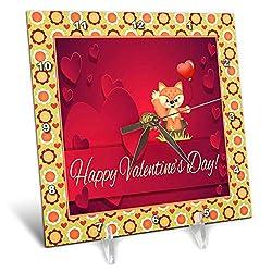 3dRose Beverly Turner Valentine Design - Cute Fox Sitting on Tree Stump Holding Heart Shaped Balloon - 6x6 Desk Clock (dc_306372_1)