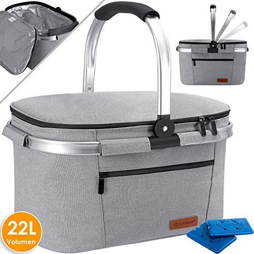 Kesser® 22L Kühlkorb Kühltasche faltbar Groß Kühlbox Isoliertasche Thermotasche Picknicktasche für Lebensmitteltransport Lunchtasche Isoliert für Aufbewahrung von Wärme und Kälte Grau