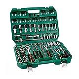 Herramientas Socket y llave de tubo conjuntos de herramientas de toma de Mecánico del kit con el caso de 1/2 3/8 1/4 1/2 métrica toma larga 3/8 1/4 toma corta chispa toma de corriente llave Allen for