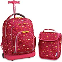 J World New York Kids' Lollipop Rolling Backpack & Lunch Bag Set, Fox, One Size