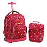 J World New York Kids' Lollipop Rolling Backpack & Lunch Bag Set, Fox, One Size
