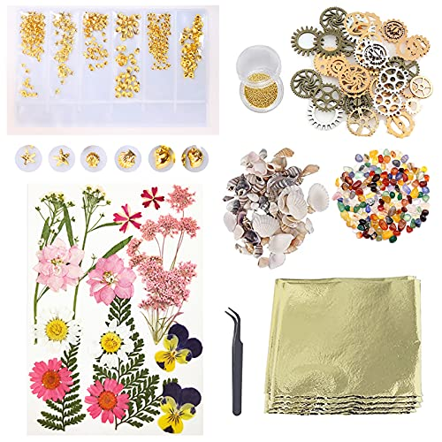 PTCOME 47 piezas de resina para hacer joyas Kit de accesorios de resina Kit de decoración con flores secas conchas de aluminio engranajes pinzas epoxi rellenos para manualidades de uñas