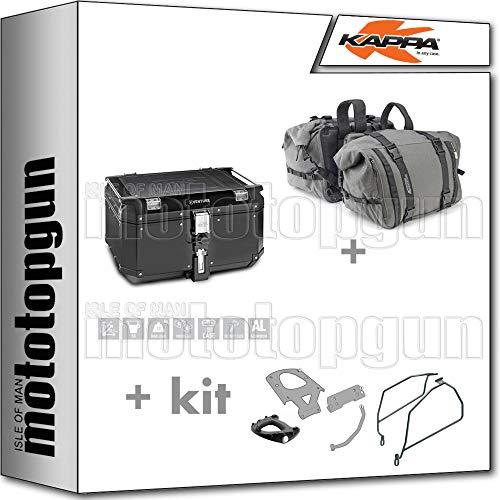 KAPPA KVE58B - Maleta + bolsa de transporte RA316 + portaequipajes MONOKEY + portaequipajes lateral compatible con Yamaha TMAX T Max 530 2017 17 2018 18