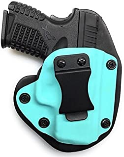 Glock 43 IWB Holster, Tiffany Blue Kydex with Bridle Leather Backer, Inside The Waistband Concealed Carry Holster, Veteran Owned - American Made, Right Handed Ladies Holster