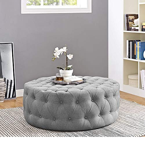 HNU Traditional Wood Frame Soft Fabric Large Round Tufted Ottoman, Modern & Contemporary Charm Furniture Stool Coffee Side Table for Living Room, Best Cocktail Ottoman - Light Gray