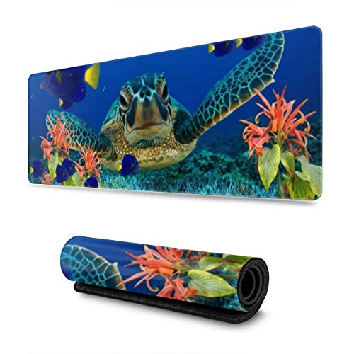Sea Turtle Underwater Flora Fish Gaming Mouse Pad XL, Extended Large Mouse Mat Desk Pad, Stitched Edges Mousepad, Long Non-Slip Rubber Base Mice Pad, 31.5 X 11.8 Inch