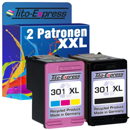 Tito-Express PlatinumSerie Set 2 Patronen Black & Color kompatibel mit HP-301XL Deskjet 1000 1050 1055 1510 2000 2050 2510 2540 2542 2544 3000 3050 3052 3054 3055 3056 3057 3058 3059 3510 | 20ml XXL-Inhalt