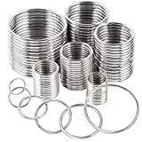 90Pcs 6 Sizes Silver Metal O Rings Multi-Purpose Heavy Duty Round Ring for Hardware Bags Belts Dog Leashes Hanging Basket DIY Craft Supplies, 15mm, 20mm, 25mm, 32mm, 38mm, 50mm