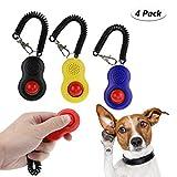 TedGem Clicker perro con correa para la muñeca, juego de 4 piezas Gran botón Clickers entrenando para perro, gato, cachorro, pájaro y caballo