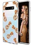 Coolwee Galaxy S10 Plus Case Rose Gold Pineapple Floral Case for Women Girl Men Foil Clear Design Shiny Glitter Hard Back Case Soft TPU Bumper Cover for Samsung Galaxy S10+ 6.4 inch 2019 Pineapple