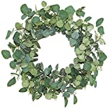 """Lvydec Artificial Eucalyptus Wreath - 20"""" Fake Green Leaves Eucalyptus Wreath with Seeds for Front Door, Wall, Window, Farmhouse Decoration"""