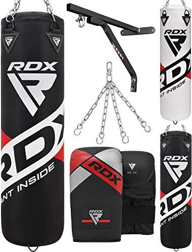 RDX Boxsack 4PC Set 4FT 5FT UNGEFÜLLT Kickboxen Muay Thai MMA Boxen mit Wandhalterung Stahlkette Training Handschuhe Kampfsport Schwer Punchingsack Gewicht Punching Bag (MEHRWEG)