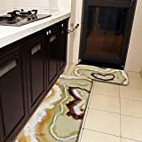 Juego de 2 alfombras de cocina y alfombrilla de cocina, diseño de corazón de ágata, azul, naranja, crema, antideslizante, suave, absorbente, para cocina, suelo, baño, fregadero, lavandería, oficina