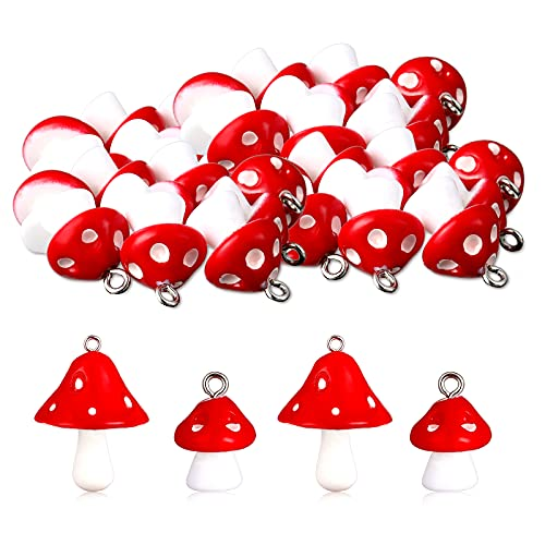 80 Pieces Mushroom Pendant Charm Mushroom Resin Charms Cute Mushroom Shape Charms DIY Pendant Jewelry Pendants for Bracelets Necklaces Earrings Keychains DIY Crafts Making (Red)