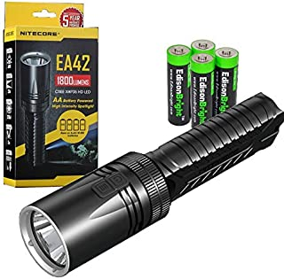 Nitecore EA42 1800 Lumen CREE XHP35 HD LED 353 meter beam flashlight/searchlight with holster and 4 X EdisonBright AA Alkaline batteries