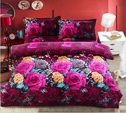Amazing Deal HUROohj 3D,The New Bedding Four Sets,European Style,Bedding Kits( 4 Pcs) for Bed Size Twin/Queen/King,-Queen