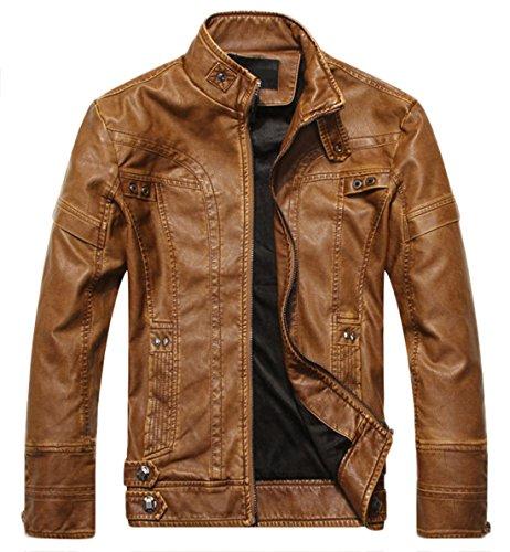 chouyatou Men's Vintage Stand Collar Pu Leather Jacket (Large, DZQM769-Brown)