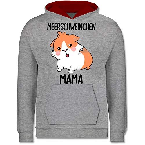 Shirtracer Tiermotive Kind - Meerschweinchen Mama - 140 (9/11 Jahre) - Grau meliert/Rot - Spruch - JH003K - Kinder Kontrast Hoodie