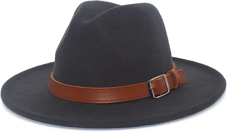 Adult Felt-Fedora-Hat-Wide-Brim, Women Vintage Floppy Felt Fedora Panama Rancher Hat with Belt Buckle
