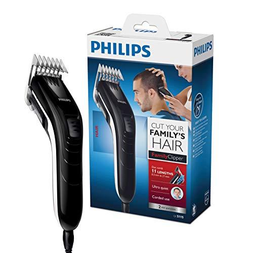 Philips QC5115/15 - Cortapelos silencioso con peine de 11 posiciones, Cuchillas de acero...