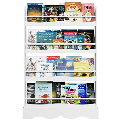 "Homfa Kids Bookshelf, 4 Tier Children's Bookcase Rack Free Standing Against The Wall, Display Storage Shelves for Books Toys in Study Living Room Bedroom, 31.5"" L x 4.5"" W x 46.5"" H, White"