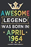 April 2021 My 57th Birthday Journal: 57th Journal for men, women born in April 1964, Notebook for 57 yrs years, notebook for boys, Girls | Lined Notebook | 110 Lined pages size 6x9.