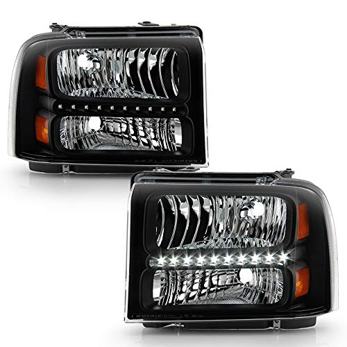 ACANII - For Black 2005 2006 2007 Ford F250 F350 F450 SD LED Headlights Headlamps Replacement Driver + Passenger Side
