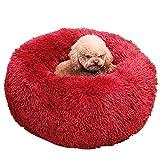 LXZH Haustier-Bett, Faux Fur Rund Donut Kissen, Weicher Pelz Waschbare Kissen, Warmer Haustier-Basket,B,40CM