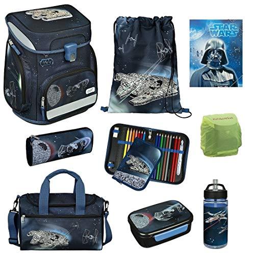 Star Wars Schulranzen-Set 9tlg. Modell Easy Fit Ranzen 1. Klasse mit Federmappe gefüllt, großer Sporttasche und Regenschutz
