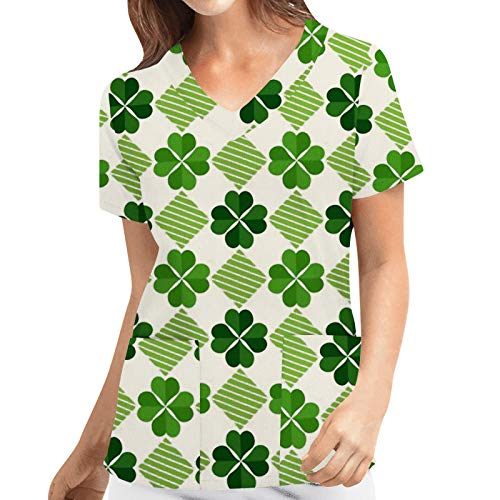 Xmiral Short Sleeve Nurse Uniform Colorful Printed T-Shirt V-Neck Workwear Beauty Salon Tops with Two Pockets(c-Green 4,XL)