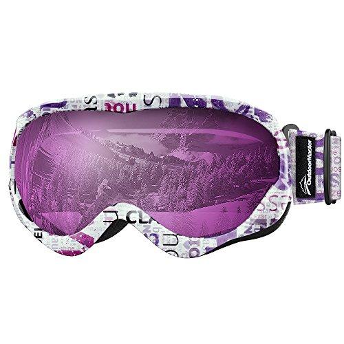 OutdoorMaster Baby Jungen Kinder Ski-Helm Kompatible Schneebrille Mädchen mit 100% UV-Schutz (Rahmen mit Alphabet + VLT 30% lila Gläser mit Revo Silber), Alphabet Muster + Violett-Grau (VLT 30%)