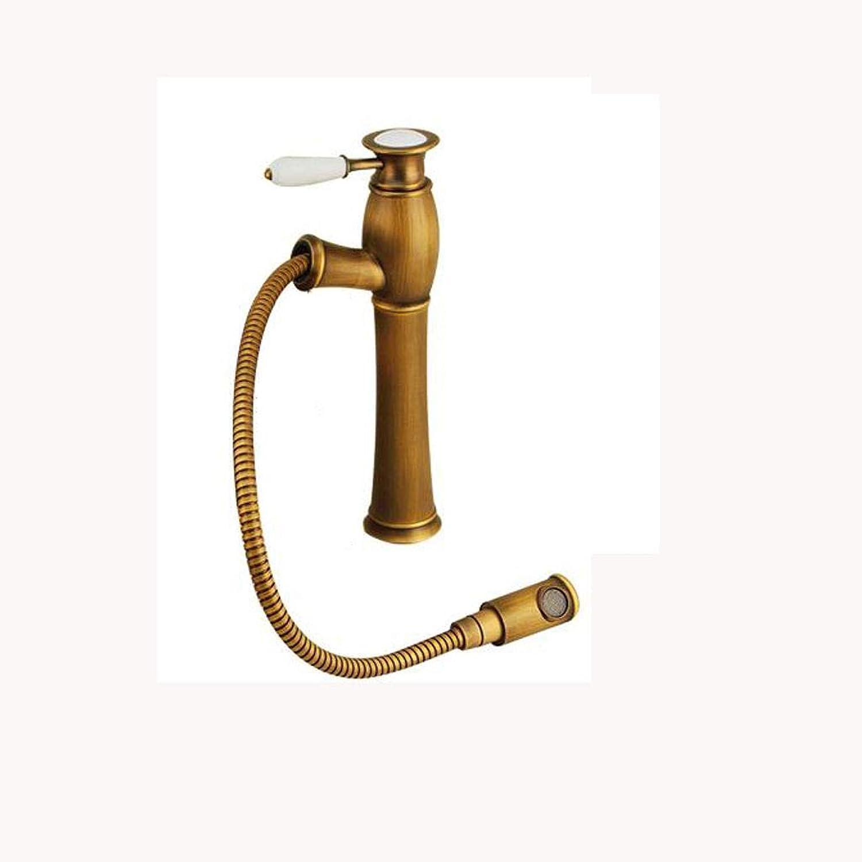 Kupfer Bronze Wasserhahn,Ausziehbarer Wasserhahn Retro tippen361Auslauf drehen Einhebel-Wasserhahn Mischbatterie Mit Ablaufgarnitur Küche Badezimmer Badezimmer -A