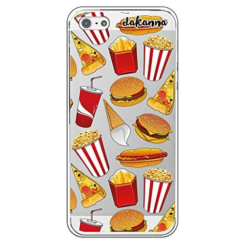 dakanna Custodia per iPhone 5-5S - SE | Hamburger, ristoro, Pizza e Popcorn | Cover in Gel di Silicone TPU Morbido di Alta qualità con Sfondo Trasparente