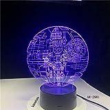 Regalo de ventilador de Star Wars, estrella de la muerte, Darth Vader, maestro Yoda, líder Jedi, gradiente de Color, luz 3D, regalo de luz nocturna LED