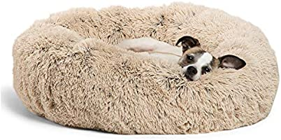 """Best Friends by Sheri DNT-SHG-TAU-2323-VP The Original Calming Donut Cat and Dog Bed in Shag Fur, Small 23""""x23"""" in..."""
