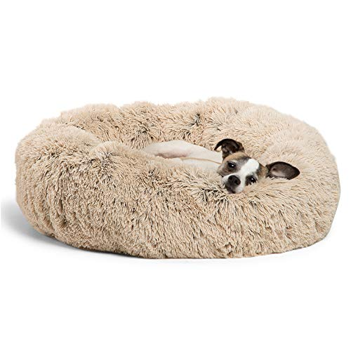 """Best Friends by Sheri The Original Calming Donut Cat and Dog Bed in Shag Fur, Machine Washable, for Pets up to 25 lbs. – Small 23""""x23″ in Taupe"""
