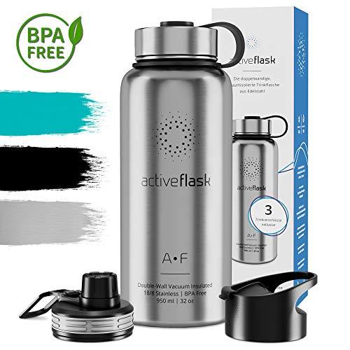 Botella térmica ACTIVE FLASK con 3 tapones para oficina, bicicleta, gimnasio |...