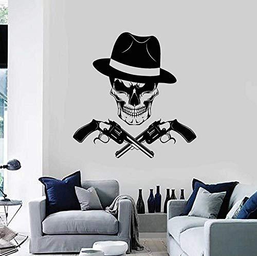 Muurstickers, schedelkop, wandtattoo, wandstickers, ganster, hoed, maffia, frisse stijl, vinyl voor ramen, slaapkamer, heren, grot, decoratie, 57 x 58 cm