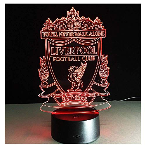 Club de Fútbol Liverpool F.C.-LED de lámpara de noche luz del Illusion óptico 3d, Idea 7colores rápido Tocar Interruptor, de cumpleaños de vacaciones de Navidad Regalo para Niños y amigos