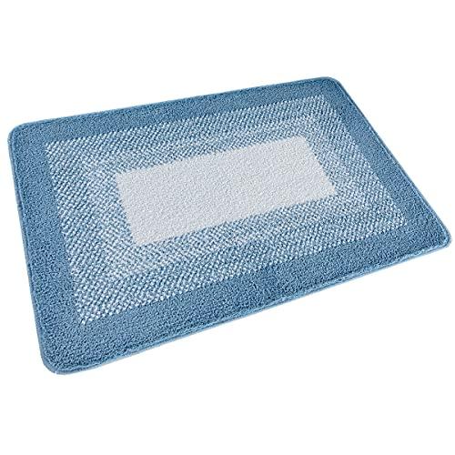 """Indoor Doormat Front Door Rug, 24""""x36"""" Absorbent Machine Washable Inside Door Mat, Non Slip Low-Profile Entrance Rug for Front Door, Blue"""
