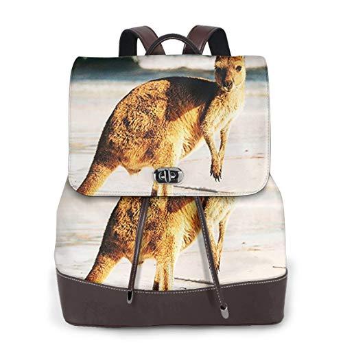 SGSKJ Rucksack Damen Niedlicher australischer Känguru, Leder Rucksack Damen 13 Inch Laptop Rucksack Frauen Leder Schultasche Casual Daypack Schulrucksäcke Tasche Schulranzen
