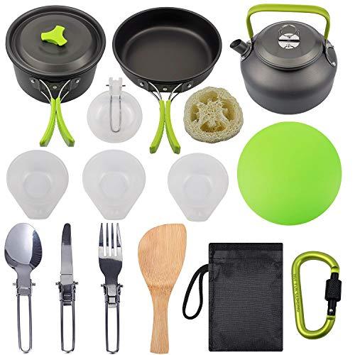Dcolor Kit de Batterie de Cuisine de Camping, Ensemble de Cuisine Extérieure avec Bouilloire, Marmite et Casserole de Camping Légère pour 2 à 3 Personnes, Camping, Randonnée