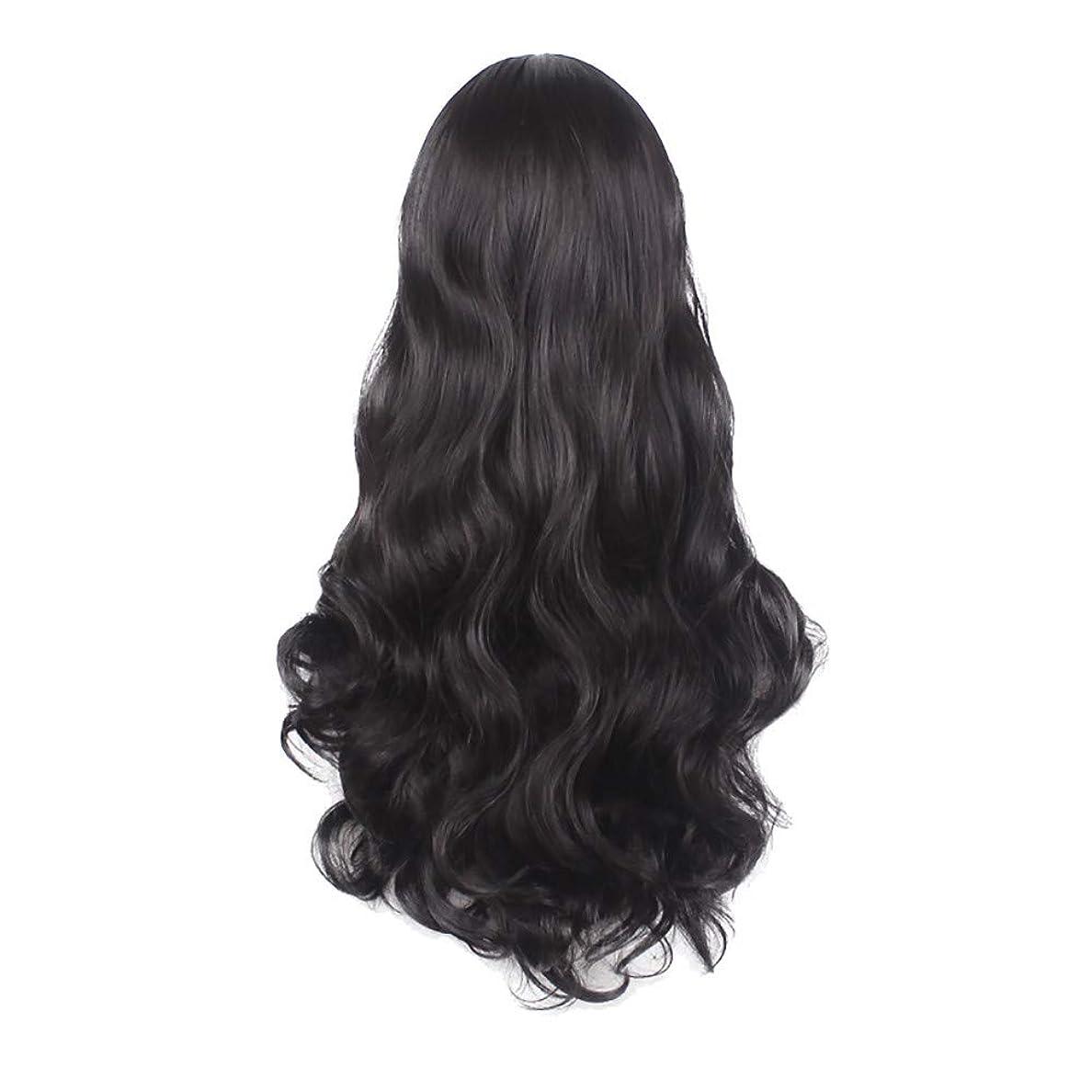 無声で分解するラウンジ女性の黒の長い波状の巻き毛のかつらパーティーCOS小道具かつらをかつら